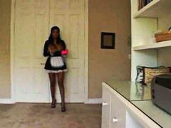 French maid cleans the house with her tits out