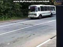 Brunette lady waiting for the bus gets penetrated at the bus stop