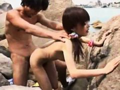 small tits, hairy, sucking, slut, doggystyle, fucked, blowjob, skinny, beach, japanese, outdoor