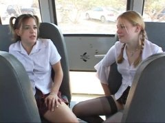 teenage schoolgirls gargle schlong on bus