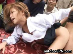 model, gets, interracial, sucking, japanese, akane hotaru, hot, outdoor, group, public, part3, fucking