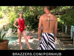 orgasm, dick, big dick, cheating, pornstar, brazzers, emmanuelle-london, pool, outdoors, deepthroat, big, gives