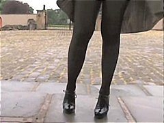 sexy, pantyhose, outdoor, stockings, playing, matures, milf, masturbation