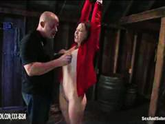redhead, man, fetish, fingering, bondage, gets, pussy, bald, bound, submission, spanking, tied, fingers, orgasm, from