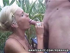 couple, blowing, cock, ex girlfriend, outdoor, blowjob, amateur, banging, blonde, cumshot, busty, home made