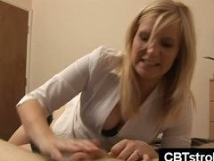 blonde, ffm threesome, cbt handjob, gives, british, handjob, guy