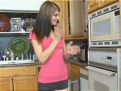 kitchen, boner, teen, brunette, babysitter, hardcore, gets, hot