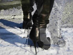 high heels, french, totally, babes, leather, heels, teens, ice, boots, high, walking, on