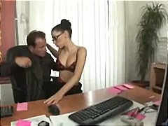 sexy, brunette, licked, sucking, secretary, gets, boss, hammered, nylon