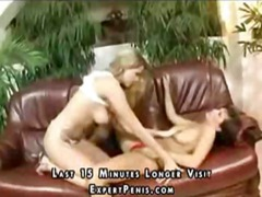 tits, lesbian, shaved, muff diving, girl, couch, fingering, horny, 3some