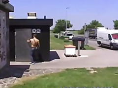 Public toilet amateur boy