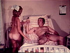 vintage, couple, blowjob, nurse, cum shot, caucasian