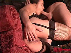 gauge,  gauge, blowjob, deepthroat, caucasian, couple, lingerie, redhead