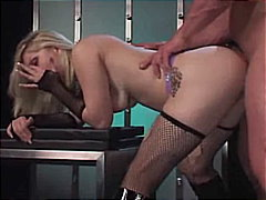 stockings, blonde, tattoos, shaved, couple, cum shot, masturbation, toys, swallow, high heels, caucasian
