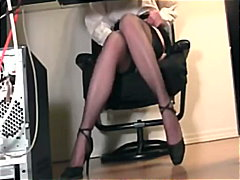 fingering, lingerie-videos.com, masturbation, heels, stockings, secretary, fetish, nylon