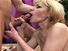 Blonde granny still likes the heat as she gets banged hard
