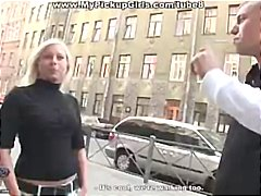 Stranger picks up cute blonde and she takes his cock in her mouth and pussy outdoors