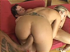Blonde babe takes on two cocks and sucks and gets anal and a dp