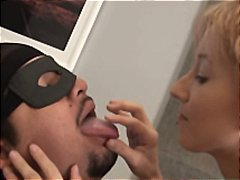Masked man loves swapping spit with his cute blonde girlfriend