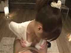 Busty japanese girl in different scenes sucking and fucking