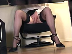 shaved, high heels, lingerie, stockings, secretary, legs, hidden cam, fetish, masturbating, voyeur