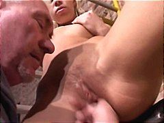 Blonde slut get fucked by an old man