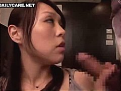 A horny japanese housewife teases her man with a slow blow job