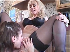 nina hartley,  milf, pussy eating, small tits, brunette, kissing, lingerie, housewife, erotic, kitchen, stockings