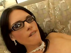 jennifer dark,  lingerie, cum shot, glasses, jennifer dark, stockings, anal sex, caucasian, couple, blowjob,