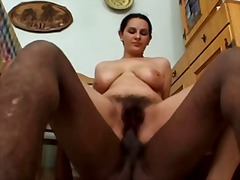 Fat woman with hairy pussy fucked by two men