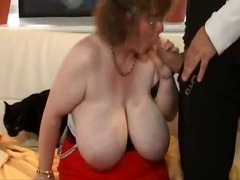 Granny with big tits.belly & glasses