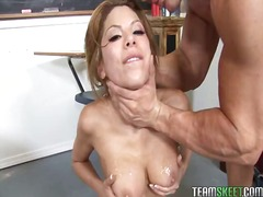 Yobt TV:missionary, pussy lick, white, straight, upskirt, cleavage, shaved pussy, no condom, bj, pornstar, blowjob
