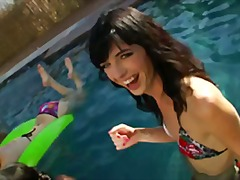 pool, outdoor, orgy, party, group sex, oral, shemale, blowjob, hardcore