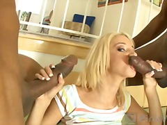 threesome, blonde, mmf, interracial, malupit, malinis