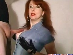 redhead, lady, chubby, mature, older, wife