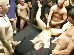 Two submissive and gay men are whipped and are forced to suck strangers cocks