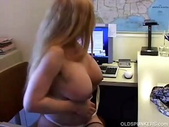 redhead, older, contractions, wife, jilling-off, mom, big tits, milf, ginger, orgasm, clitoris, wet pussy