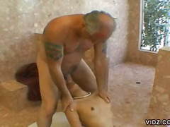 old young, old man, ball licking, blowjob, bathroom, hardcore, asian, oral