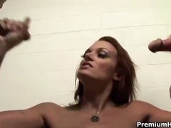 Pro Porn:brunette, threesome, handjob, blowjob, bukkake, amateur, facial