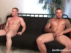 Two buff str8 dudes show up for work and i try to make them have sex with each other.