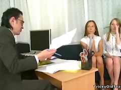 Perverted young girls play sex game near thir teacher's cock.