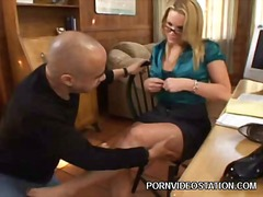 pornstar, milf, hardcore, office, footjob, couple, blonde, secretary, babe