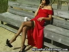 stockings, brunette, door, outdoors, girl-on-girl, outside, black, smoking, beach, fetish, pantyhose
