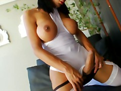 shemale, big-boobs, brunette, stockings, sabri, big-tits, shaved, masturbation, solo, cock-riding, garter,