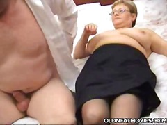 bbw, blowjob, hardcore, granny, bed, couple