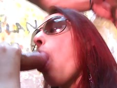 outdoors, brunette, cumshot, public, condom, hardcore, latina