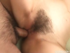 Tiny oriental babe spreads pussy for dick
