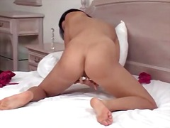 Slim solo nude masturbating girl with a toy