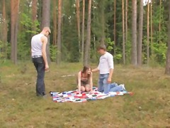 forest, outdoors, eric, hardcore, threesome, brunette, russian, teen