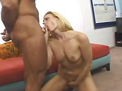 cumshot, milf, interracial, blowjob, natural-boobs, gonzo